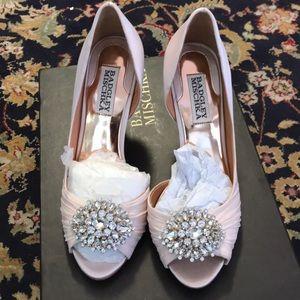 Shoes - Badgley Mischka size 6.5 pink satin wedding